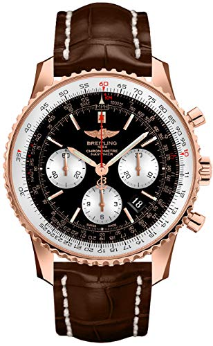 Breitling Navitimer 01 43 Rose Gold Men's Watch on Brown Strap RB012012/BA49-739P Breitling Navitimer Slide Rule