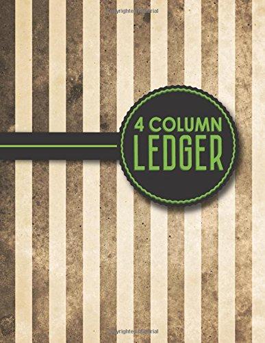 "Download 4 Column Ledger: Account Book Ledger, Accounting Notebook Ledger, Ledger For Accounting, Vintage/Aged Cover, 8.5"" x 11"", 100 pages (Volume 5) PDF"