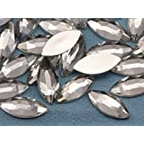20x9mm Crystal A01 Flat Back Navette Acrylic Jewels High Quality Pro Grade - 25 Pieces