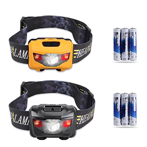 Kids CREE LED headlamps 2-pack, red lights headlamp flashlight for hunting running camping (6 AAA batteries included)