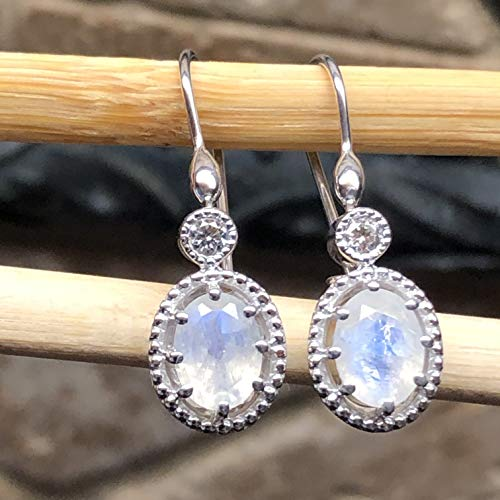 Natural Rainbow Moonstone, White Sapphire 925 Solid Sterling Silver Dangle Earrings 30mm Long