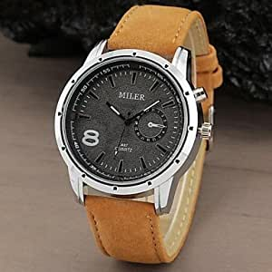 ZA Men's Watch Military Water Resistant Leather Band(Delivery color random)