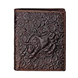Men's Leather Wallet Carved Bull Bifold Business ID Cards Case, Medium