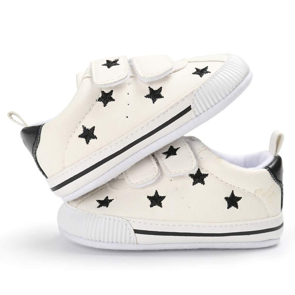 Alamana Lovely Stars Heart Magic Tape Infant Baby Soft Sole Prewalker Toddler Shoes Black Stars 12cm