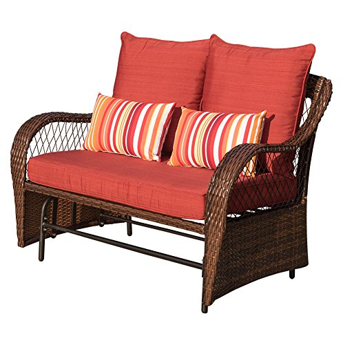 Double Garden Glider (Sundale Outdoor 2 Person Wicker Loveseat Glider Bench Chair Patio Porch Swing with Rocker, Red Cushions and Striped Pillows)