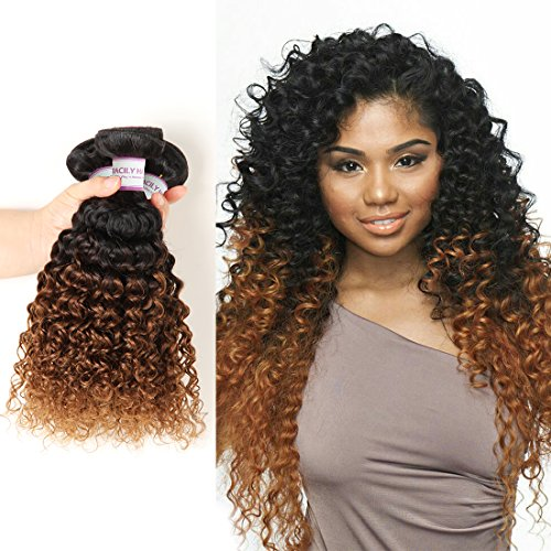 Racily Hair 8A Ombre Peruvian Curly Hair 3 Bundles Ombre Auburn Brown Kinky Curly Peruvian Hair Extensions 1B 30 Ombre Blonde Mink Peruvian Virgin Hair Two Tone Curly Weave Human Hair (12'14'16')