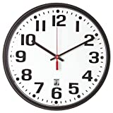 SKILCRAFT 6645-01-557-3148 Plastic SelfSet Wall Clock with White Face, 12-3/4-Inch Diameter, Black