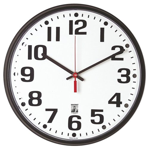 SKILCRAFT 6645-01-557-3148 Plastic SelfSet Wall Clock with White Face, 12-3/4-Inch Diameter, Black by Skilcraft