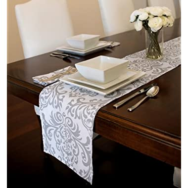 Grey and White Damask Table Runner (12  x 90 )