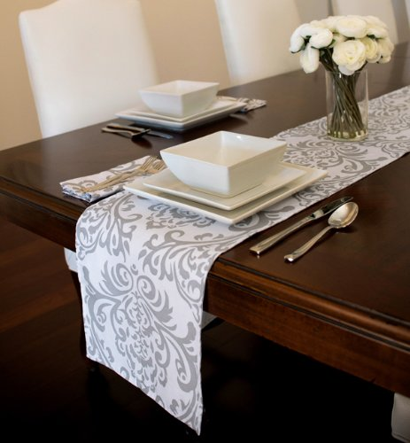 Grey White Damask Table Runner product image