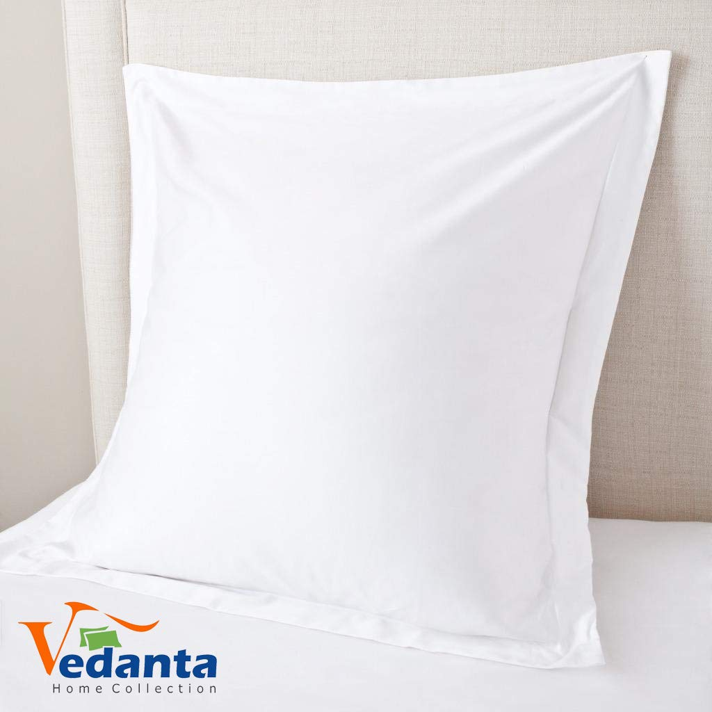 European Square Pillow Shams Set of 2 White 600 Thread Count 100% Natural Cotton Pack of Two Euro 26 x 26 Pillow Shams Cushion Cover, Cases Super Soft Decorative (European 26''x26'', White) by Vedanta Home Collection