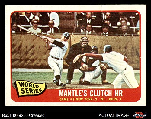 1965 Topps # 134 1964 World Series - Game #3 - Mantle's Clutch HR Mickey Mantle/Barney Schultz/Tim McCarver St. Louis/New York Cardinals/Yankees (Baseball Card) Dean's Cards 3 - VG Cardinals/Yankees