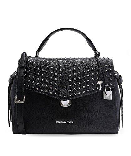 Michael Kors Bristol Medium Leather Studded Satchel Handbag in Black