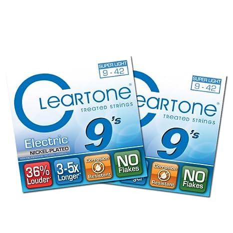 Cleartone - Cuerdas de Guitarra Eléctrica (Super Light - 9409 - 9 - 42 - 2 Paquetes: Amazon.es: Instrumentos musicales