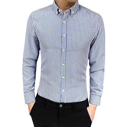 Dress Shirt Slim Fit Check Suit Fit Long Sleeve Button Striped Down Dress Shirts Tops Blouse Men (4XL,Light Blue) -