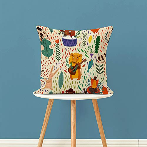 "oFloral Animal Decorative Throw Pillow Cover,Lion Bear Hare Rabbit and Fox Playing Music Pillow Case Square Cushion Cover for Sofa Couch Home Car Bedroom Living Room Decor 18"" x 18"" Colorful"