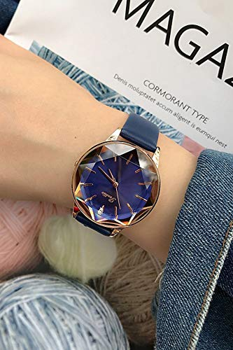 - JEGOAU Unique Diamond-Shaped Glass Mirror Purple Personalized Fashion Students Watch Women Girls Table Fashion Belt Ladies Watch (Blue