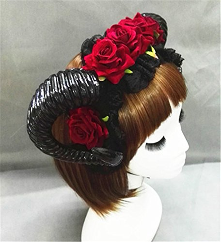 Restyle Sheep Horn Rose Flower Headband Gothic Beauty Horror Horns Halloween Black Veil Lace Retro Hair Accessories Vintage (A) -