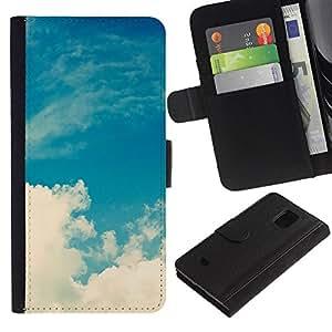UberTech / Samsung Galaxy S5 Mini, SM-G800, NOT S5 REGULAR! / Blue White Clouds Nature Sky God / Cuero PU Delgado caso Billetera cubierta Shell Armor Funda Case Cover Wallet Credit Card