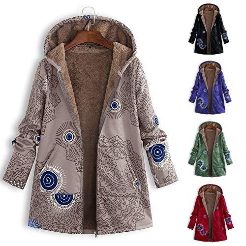Chaud Floral À Des Vêtements Poches L'hiver Vintage Les Veste Surdimensionné Kaki b Femmes Manteau Lonshell Capuche Imprimé Dames xwAqBO