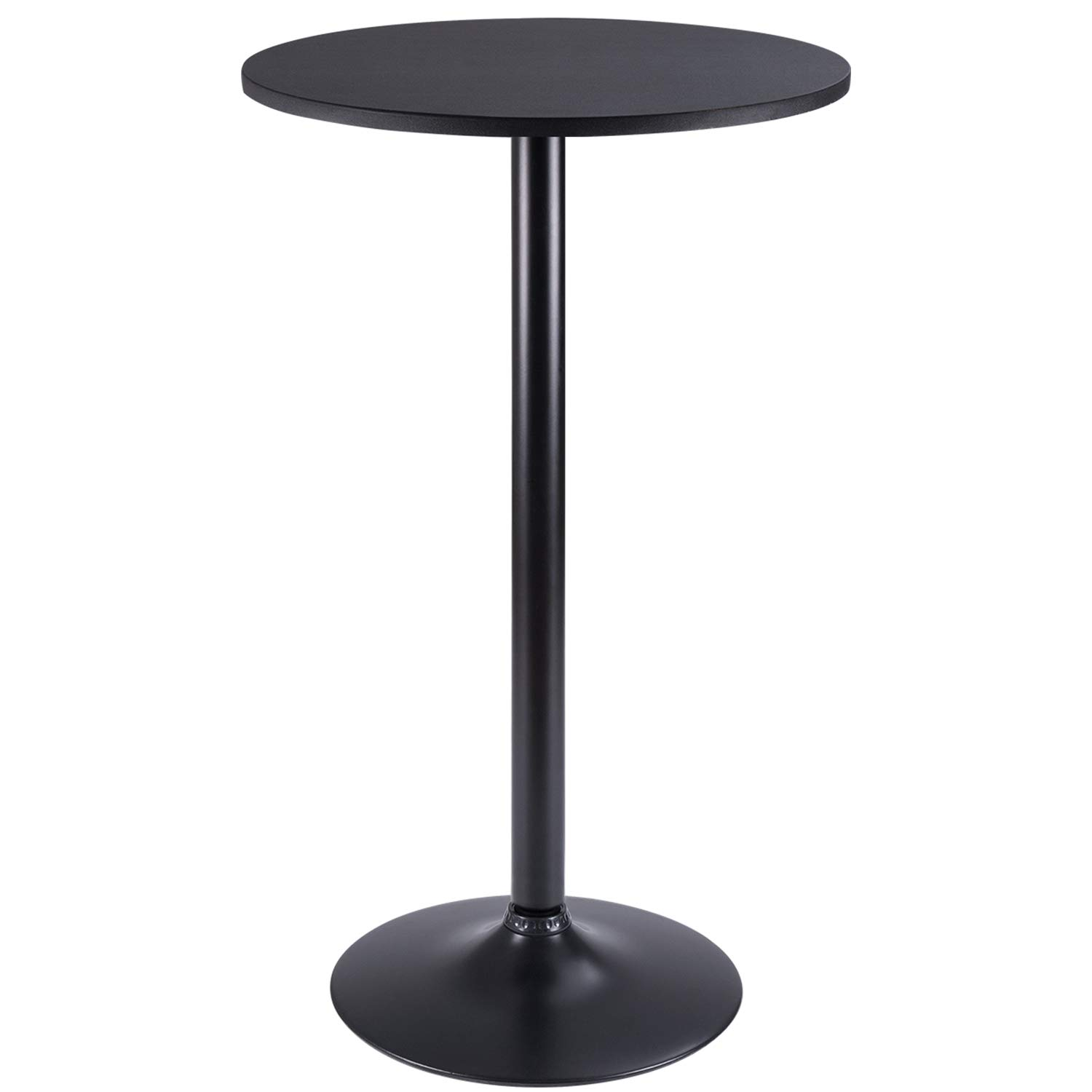 Furmax Bistro Pub Table Round Bar Height Cocktail Table Metal Base MDF Top Obsidian Table with Black Leg 23.8-Inch Top, 39.5-Inch Height (Black) by Furmax