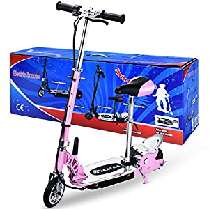 Maxtra E120 177lbs Max Weight Capacity Electric Scooter Motorized Bike Rechargeable Battery Pink