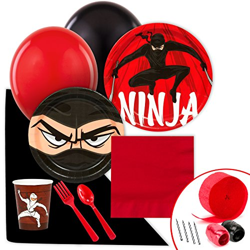 BirthdayExpress Ninja Warrior Party Supplies - Value Party Pack (Black Belt Birthday Invitations)