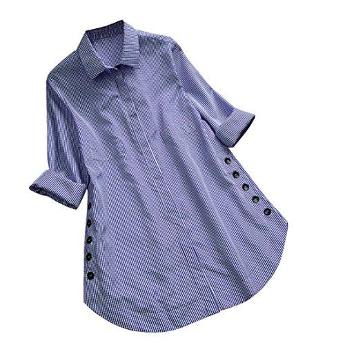 Button Bleu carreaux manches Tops longues blouse Chemise ample ample Tops dcontracts Noir Toamen Grande Lattice Chemise XL taille Femmes YUwwS
