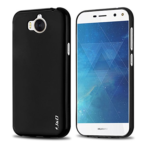 J&D Huawei Y5 2017 Case, [Drop Protection] [Slim Cushion] [Lightweight Bumper] Shock Resistant Protective TPU Slim Case for Huawei Y5 (Release in 2017) - [Not for Huawei Y5 Lite 2017] - Black