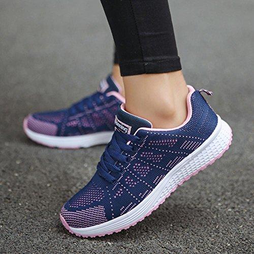 de para Sandalias Deportes Oscuro Mujer Zapatos Merceditas Respirable Transpirables Cómodos Zapatillas Azul Running Verano QinMM BvYxEw55na