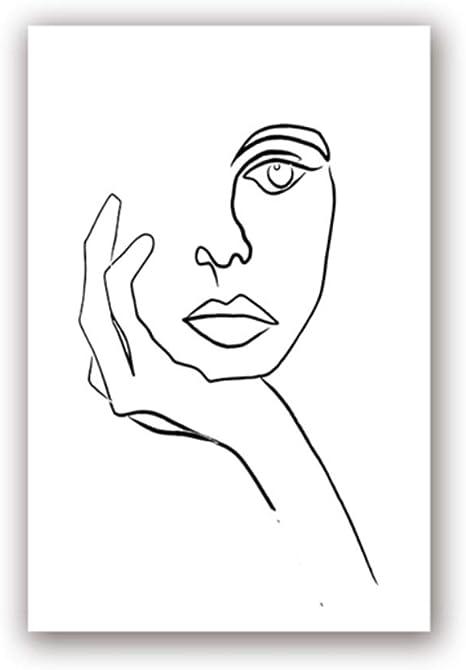 Zmfbhfbh Imprimer Picasso Dessin Au Trait Moderne Le Penseur Affiche Visage Minimaliste Art Croquis Noir Blanc Mur Art Decor Toile Peinture 20x30 Cm 7 8x11 8 Pouces Sans Cadre Amazon Fr Cuisine Maison
