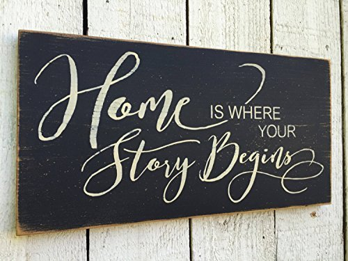 Home Is Where Your Story Begins Wood Signs Plaque Rustic for Home Decor Funny Gifts Sign (Where Is Story Home Begins Sign Your)
