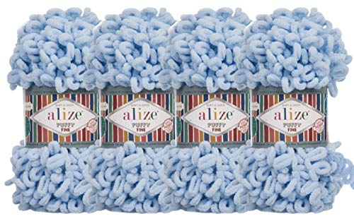 Alize Puffy Fine Baby Blanket Small Loop 100% Micropolyester Soft Yarn Lot of 4skn 400gr 64yds (218 - Baby Blue)