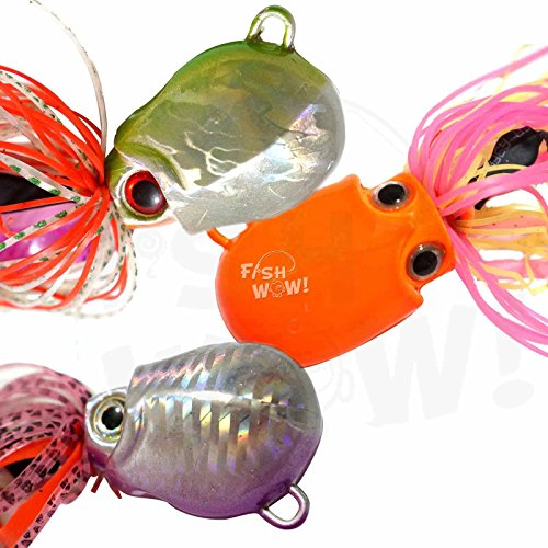 Big Game Jig Head - Fish WOW! 3pcs 7oz Fishing Rigged Octopus Head Jig Colorful Rubber 200g Thunder Jig Weight Lures Jigging Heavy Bait w/Two Hooks -3 Colors- Green, Pink, Orange