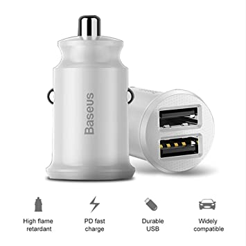 LORDWEY 3.1A Mini Dual USB Cargador de coche rápido para ...