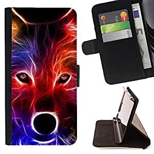 Momo Phone Case / Flip Funda de Cuero Case Cover - Lobo neón Colores Retrato Hocico Hocico - Samsung Galaxy A3
