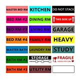 1008 Count Moving Labels Home Color-Coding Labels 21 Different Moving Stickers - 4 Bedroom 3 Bathroom Kitchen Fragile Blank Space Box Stickers 4.5'' x 1'' Packing Moving Supplies