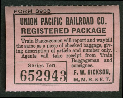 Union Pacific Railroad Registered Package sticker unused ca (1930 Registered)