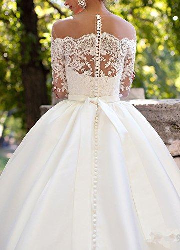 Applique Damen Changjie Weiß Brautkleider Lang Prinzessin Brautkleid Spitzen Langarm Hochzeitskleider w0dBnxdgO