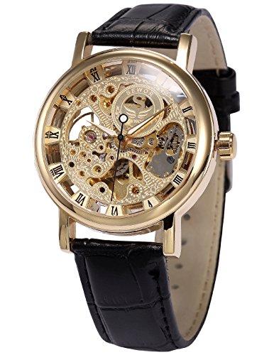 AMPM24 Men's Mechanical Wrist Watch Skeleton Hand Wind Up Gold Dial Black Leather Strap PMW358 (Skeleton Dial)
