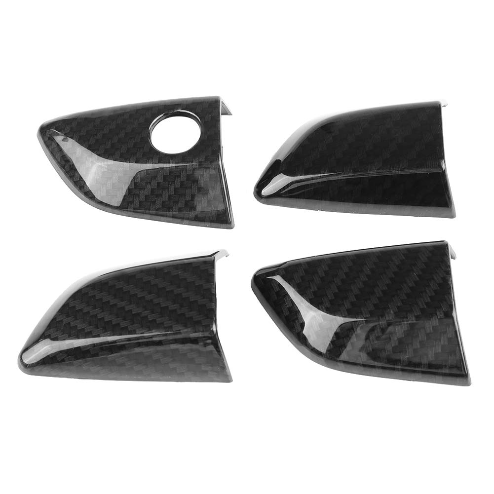 Qiilu 4 Door Handle Covers Carbon Fiber Exterior Door Bowl Cover Trim with Keyless Holes for Honda Civic 10th Hatchback Sedan 2016-2017