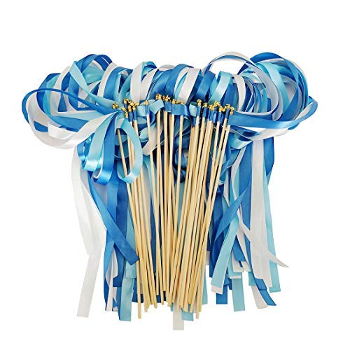 Hangnuo 30 Pack Ribbon Wands Wedding Streamers with Bells, Fairy Stick Wand Party Favors for Baby Shower Holiday Celebration, Blue