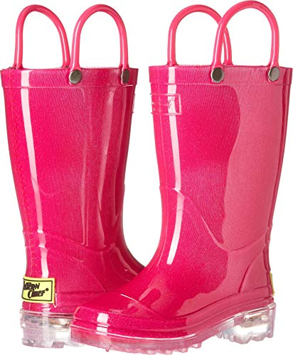 (Western Chief Kids Baby Waterproof PVC Light-Up Rain Boot, Solid Pink, 9/10 Medium US Toddler)