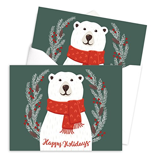 Smiling Polar Bear Holiday Card Pack - Set of 25 cards - 1 design, versed inside with envelopes Photo #3