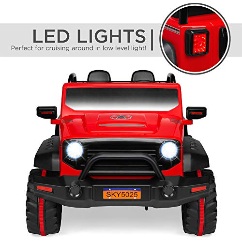 Best Choice Products Kids 12V RC 2-Seater Ride On Truck w/, LED Lights/Sounds, MP3, Red
