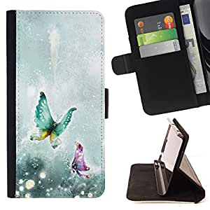 King Air - Premium PU Leather Wallet Case with Card Slots, Cash Compartment and Detachable Wrist Strap FOR HTC One M9- Butterfly Fly Beautiful Colorful