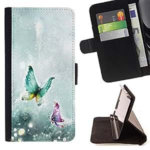 Devil Case- Estilo PU billetera de cuero del soporte del tirš®n [solapa de cierre] Cubierta FOR Sony Xperia Z3 D6653- Butterfly Fly Beautiful Colorful