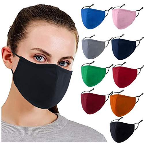 【USA In Stock 】9PCS Adults Cotton Pluggable Gasket Face Bandana_Covering_MASK Face Protection for Women and Men, Multicolor Adjustable Fashion Face Fabric Reusable Anti-Haze Breathable For Cycling Camp
