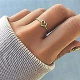 LOSOUL Simple Hollow Heart Shape Cut Ring, Women