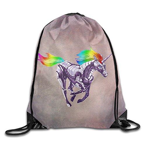 [D2 Cool Rainbow Unicorn Drawstring Bags White Size] (Thunder Lightning Costume)